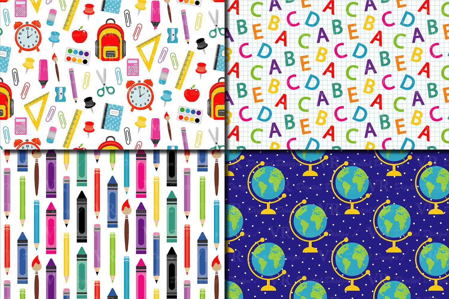 Back to School Digital paper School Supplies pattern School 1502x1000