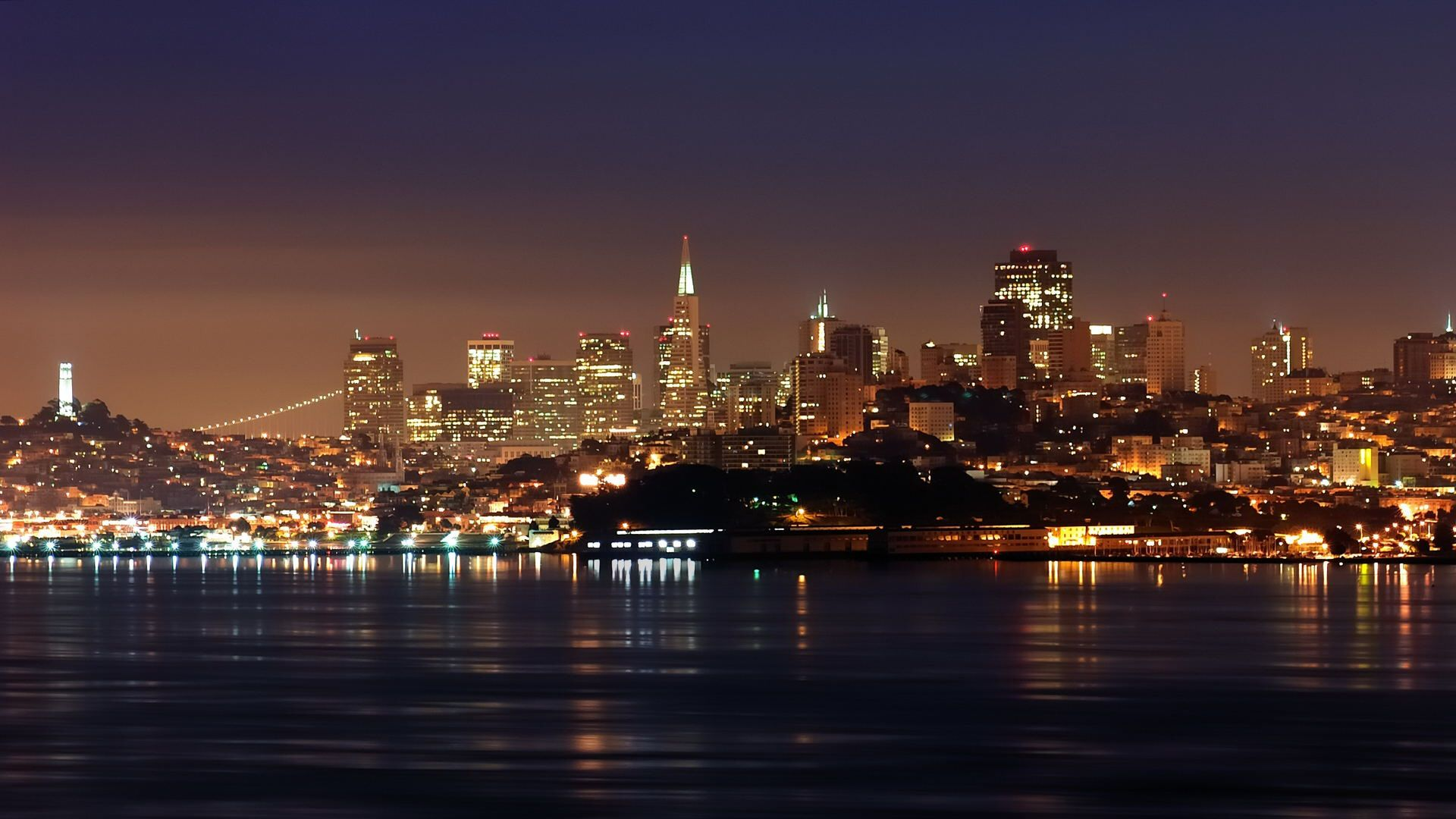 San Francisco Skyline At Night Buildings City 1920x1080