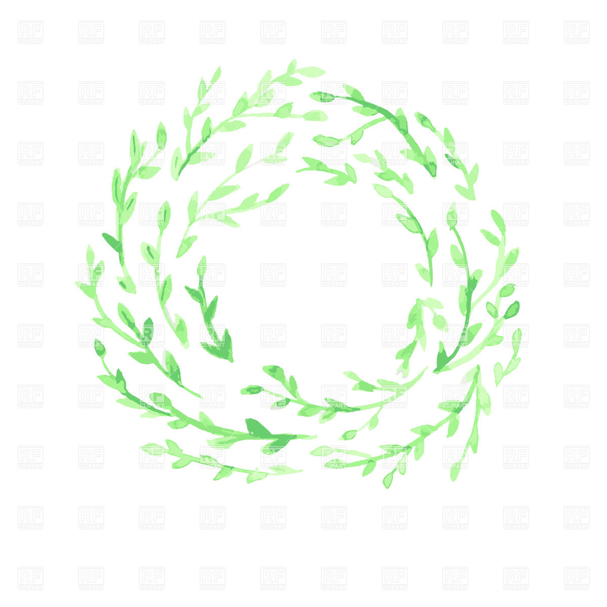Green watercolor leaf wreath on white background Vector Image of 1200x1200