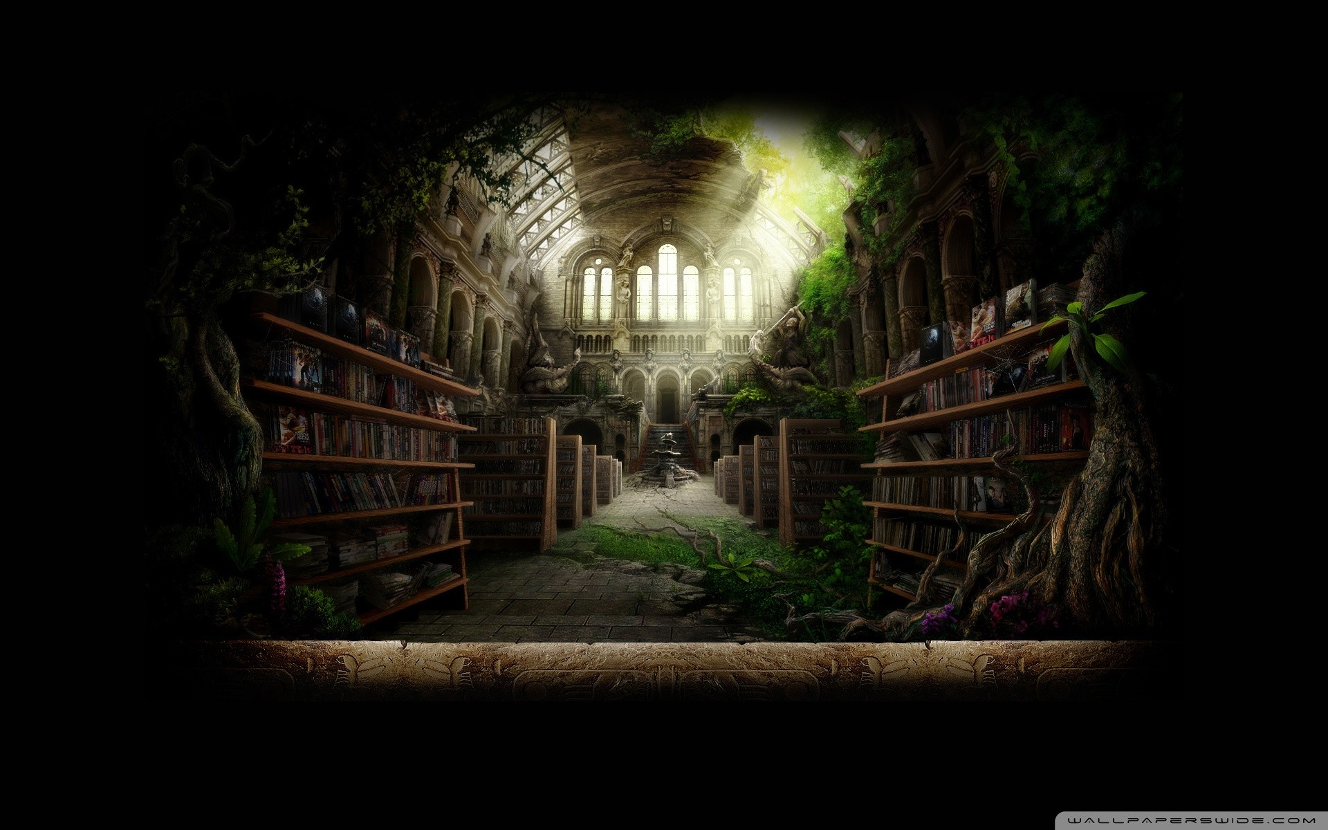 Library Fantasy Wallpaper 1920x1200 Library Fantasy Art 1920x1200