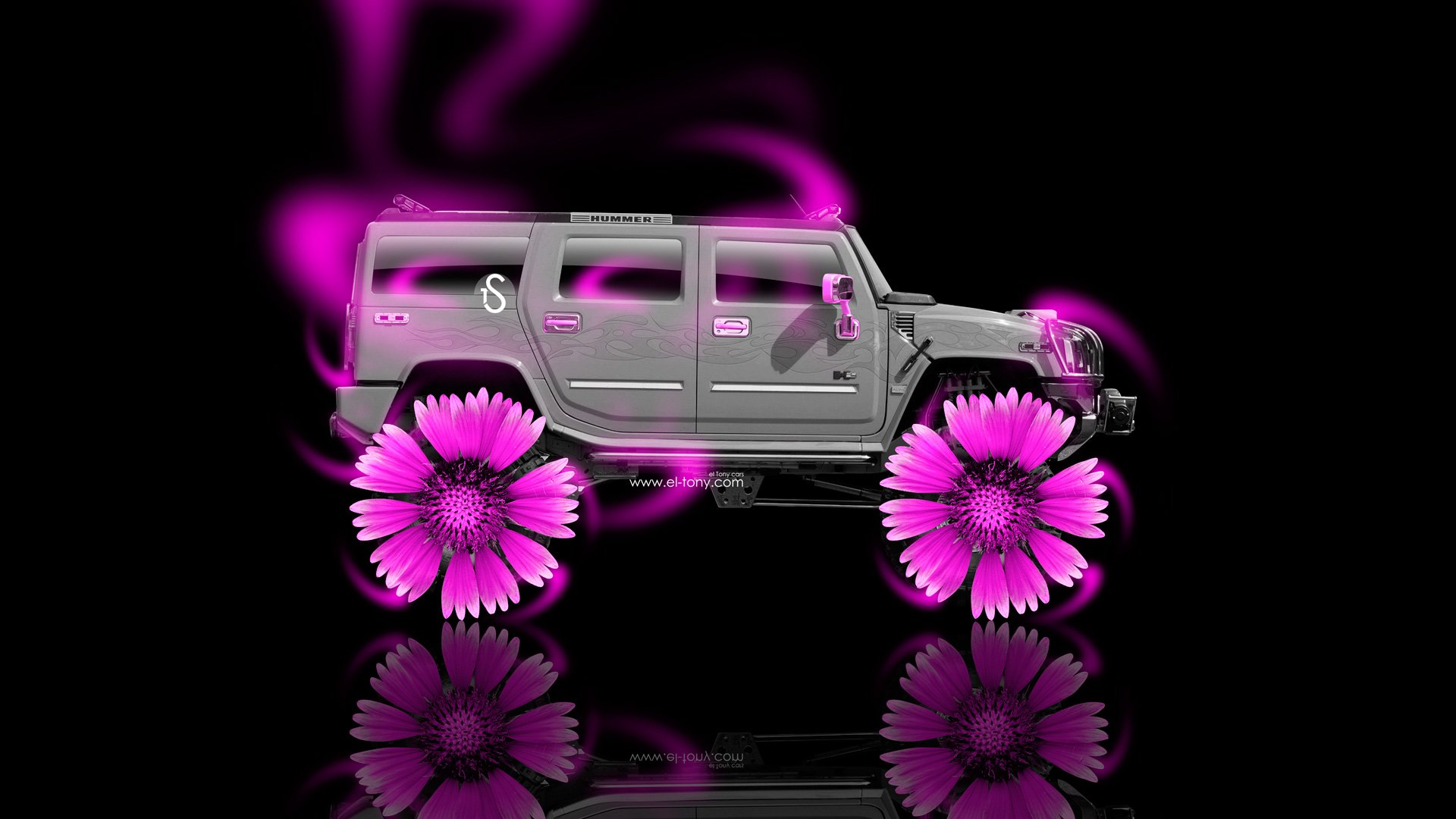 Hummer H2 Fantasy Neon Flowers Car 2014 Pink Neon HD Wallpapers design 1920x1080