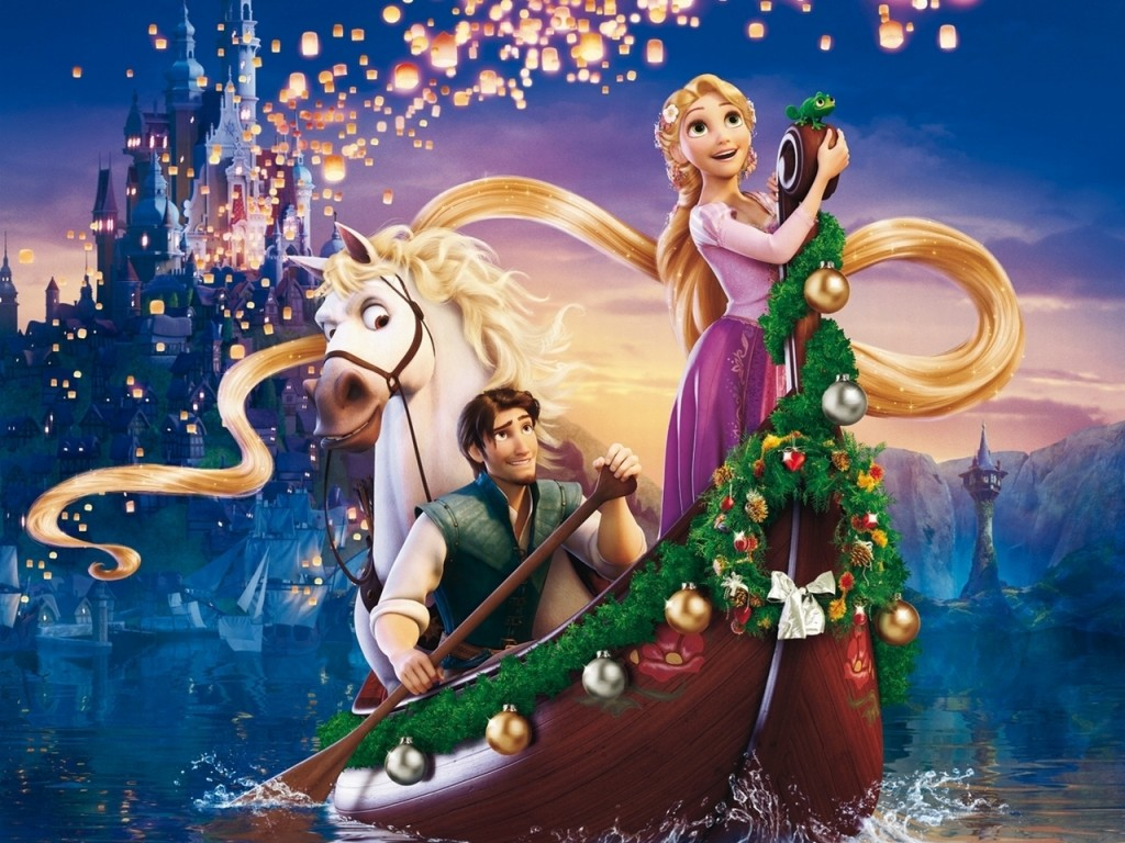 Floating Lanterns Pascal Rapunzel Tangled HD Background Wallpaper 1024x768