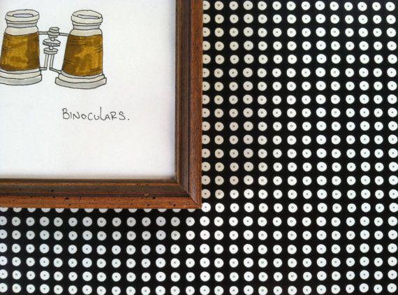 Removable Wallpaper Polka Dot Print White on Black Each Roll 570x422