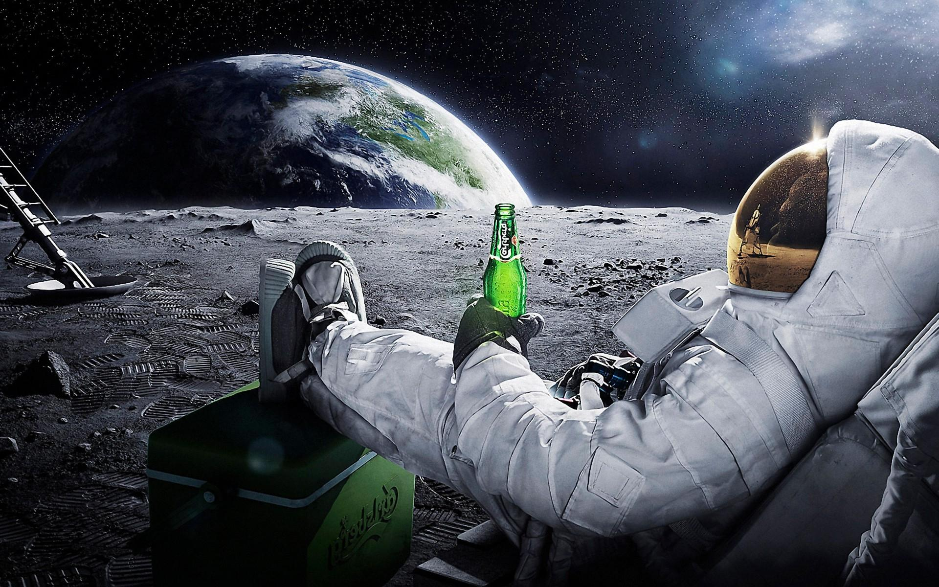 astronaut drinking miller lite beer on the moon - photo #1