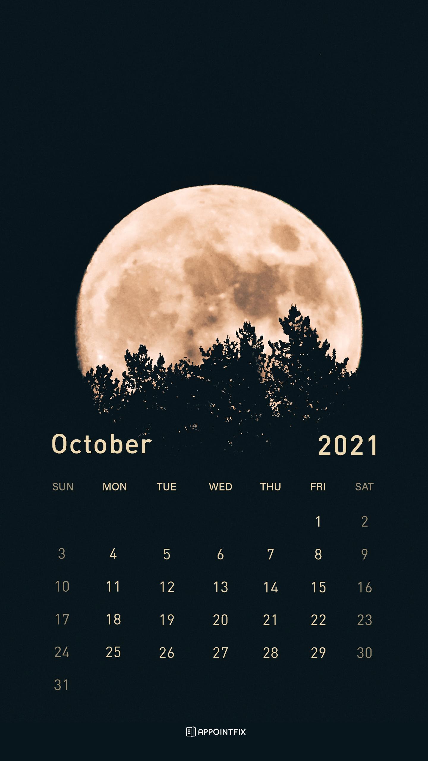 October 2021 Calendar Wallpapers Desktop Mobile 1440x2560