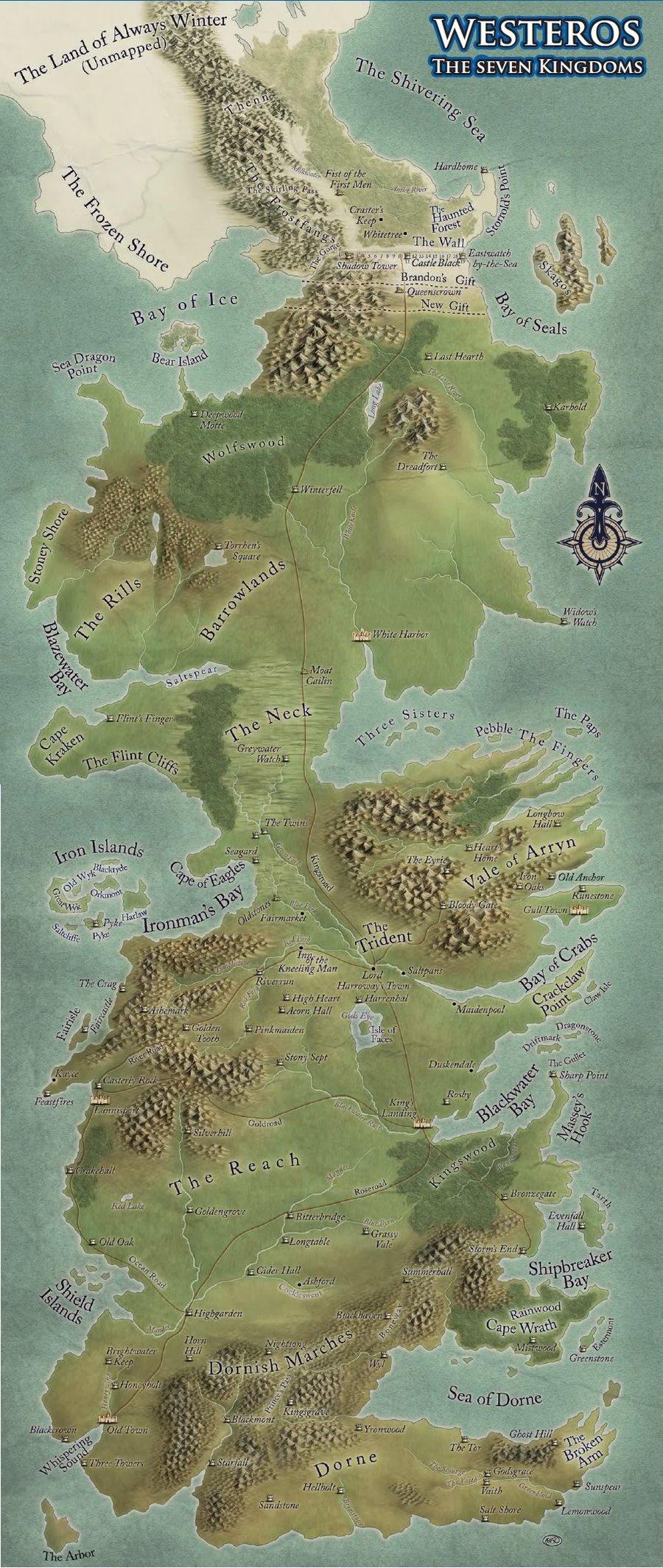 I made a Google Maps version of Westeros.[979x1449][OC ... |Westeros Map