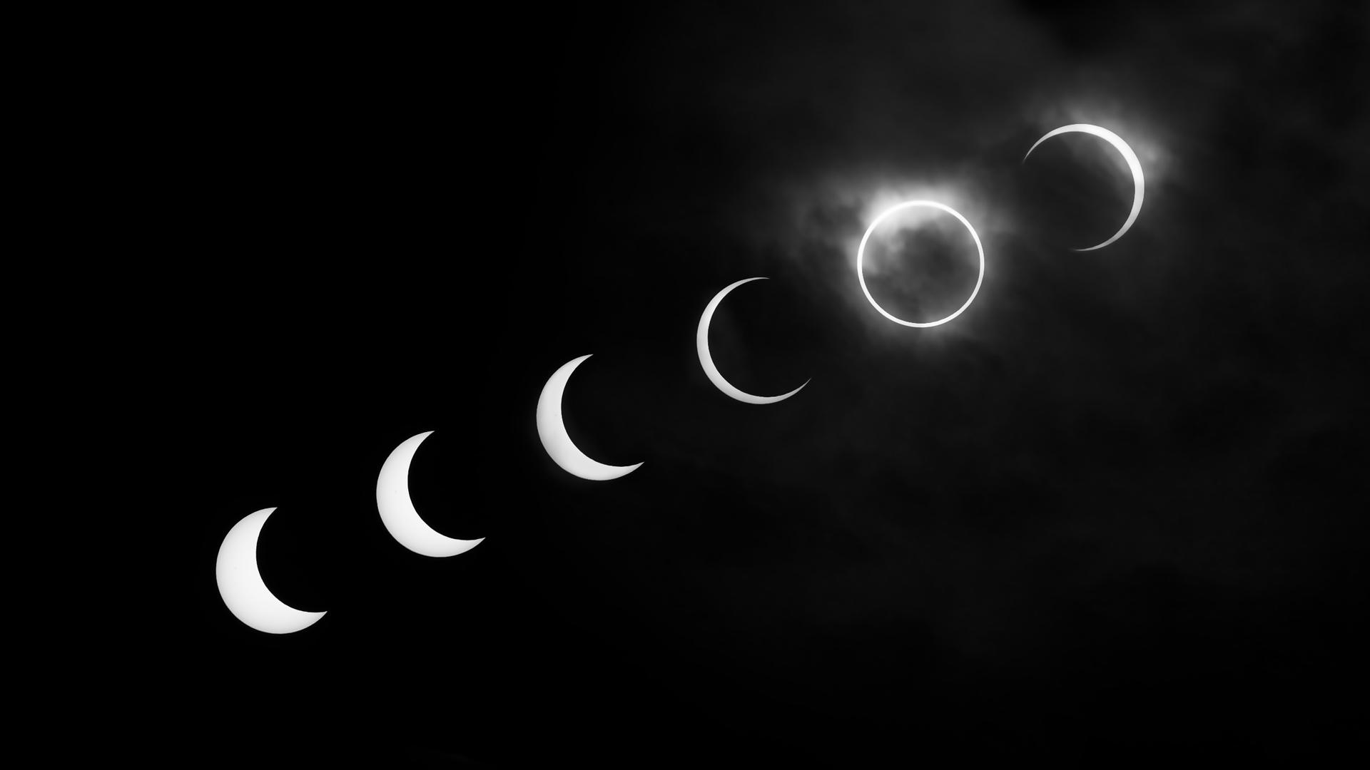 Solar eclipse black and white desktop wallpaper 1920x1080