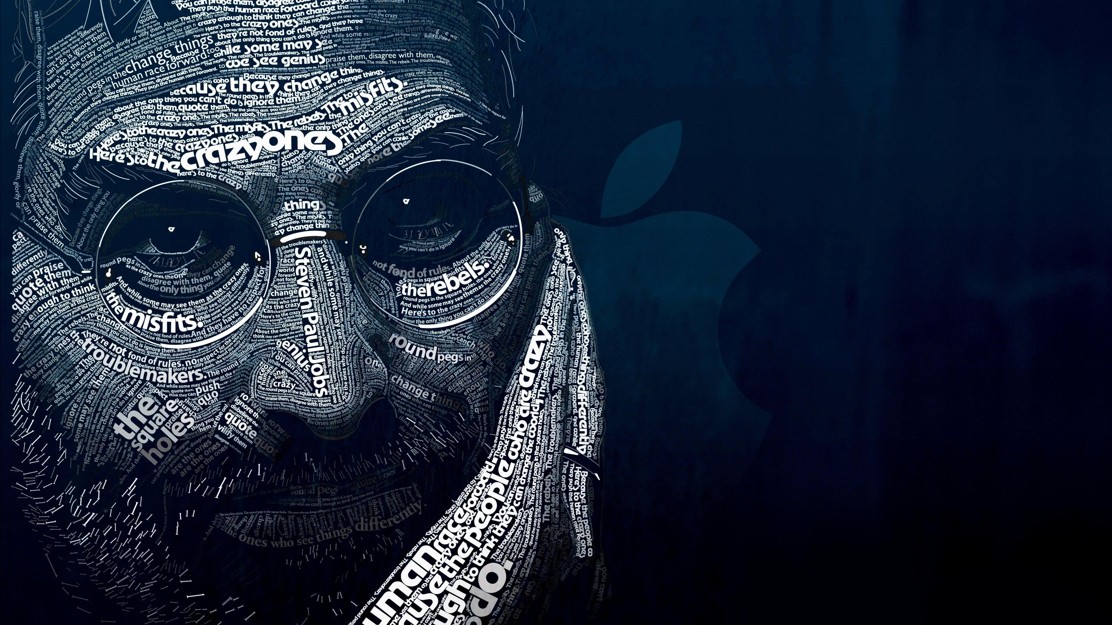 Steve Jobs Typographic Portrait Wallpaper for Desktop 4K 3840 x 2160 3840x2160