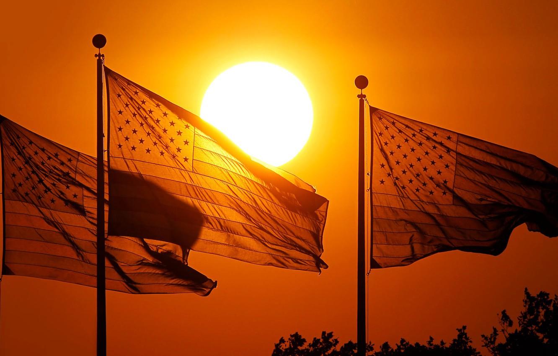 Wallpaper sunset USA flags New Jersey Jersey City Park 1332x850