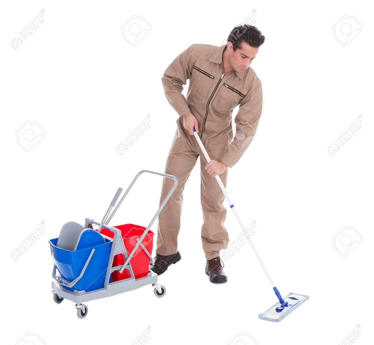 Young Male Sweeper Cleaning Floor On White Background Stock Photo 1300x1198