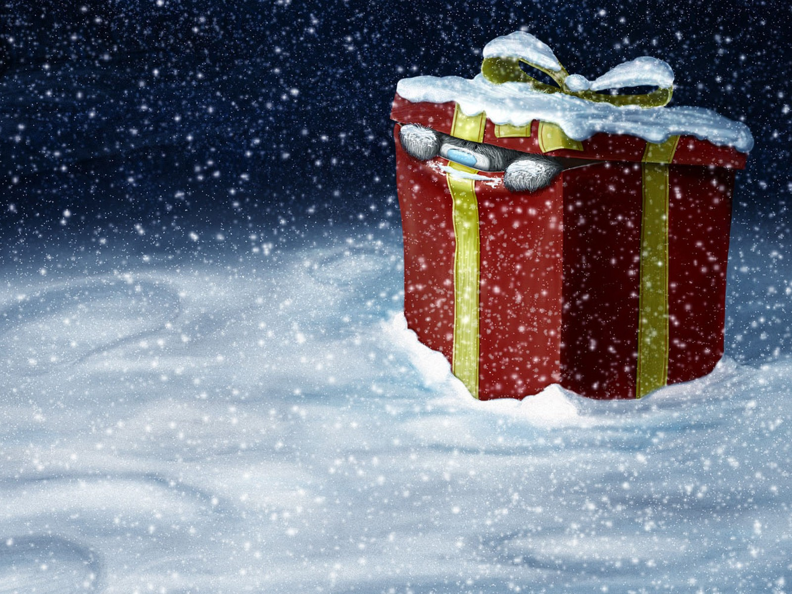 holiday wallpaper christmas winter snow gift teddy bear hd 1600x1200