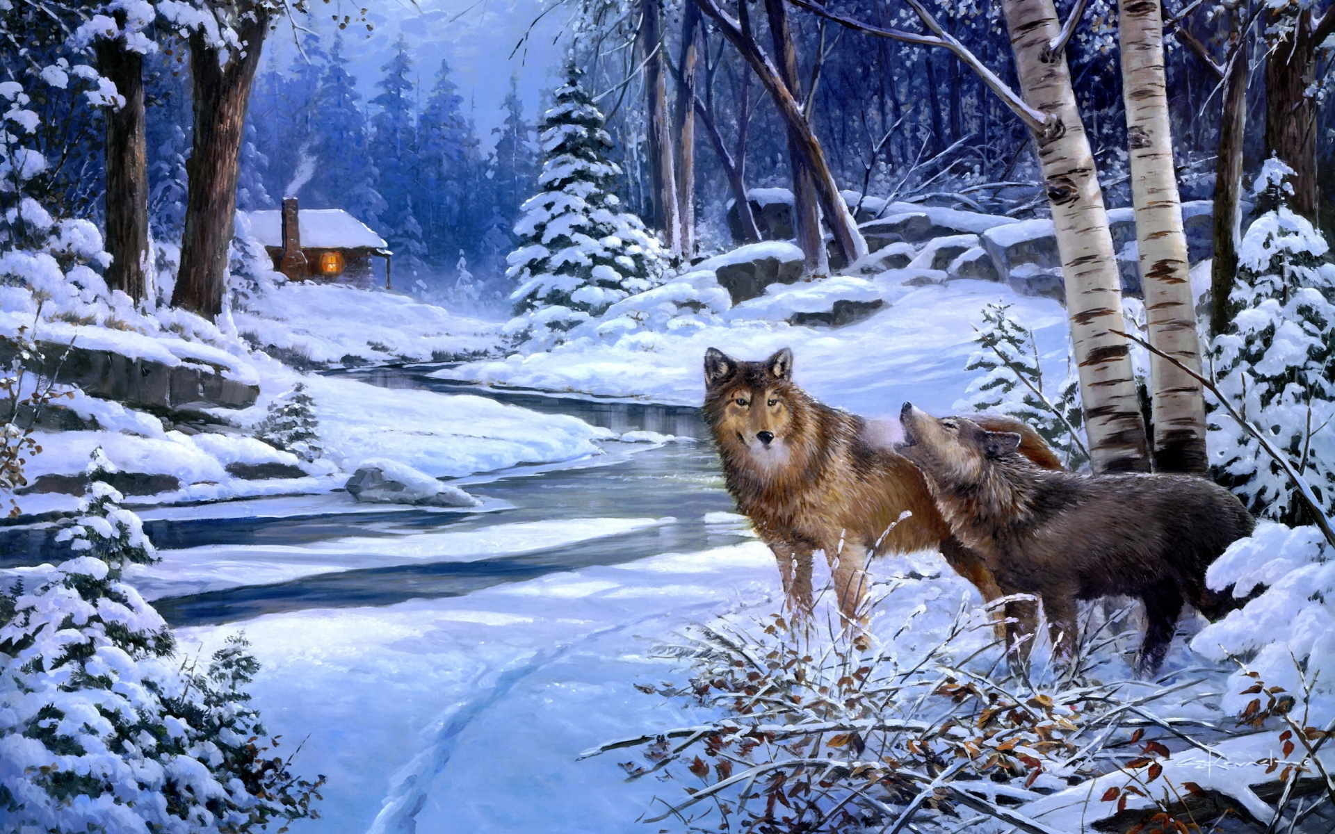 paintings landscapes winter snow rivers cabin winter snow rivers cabin 1920x1200