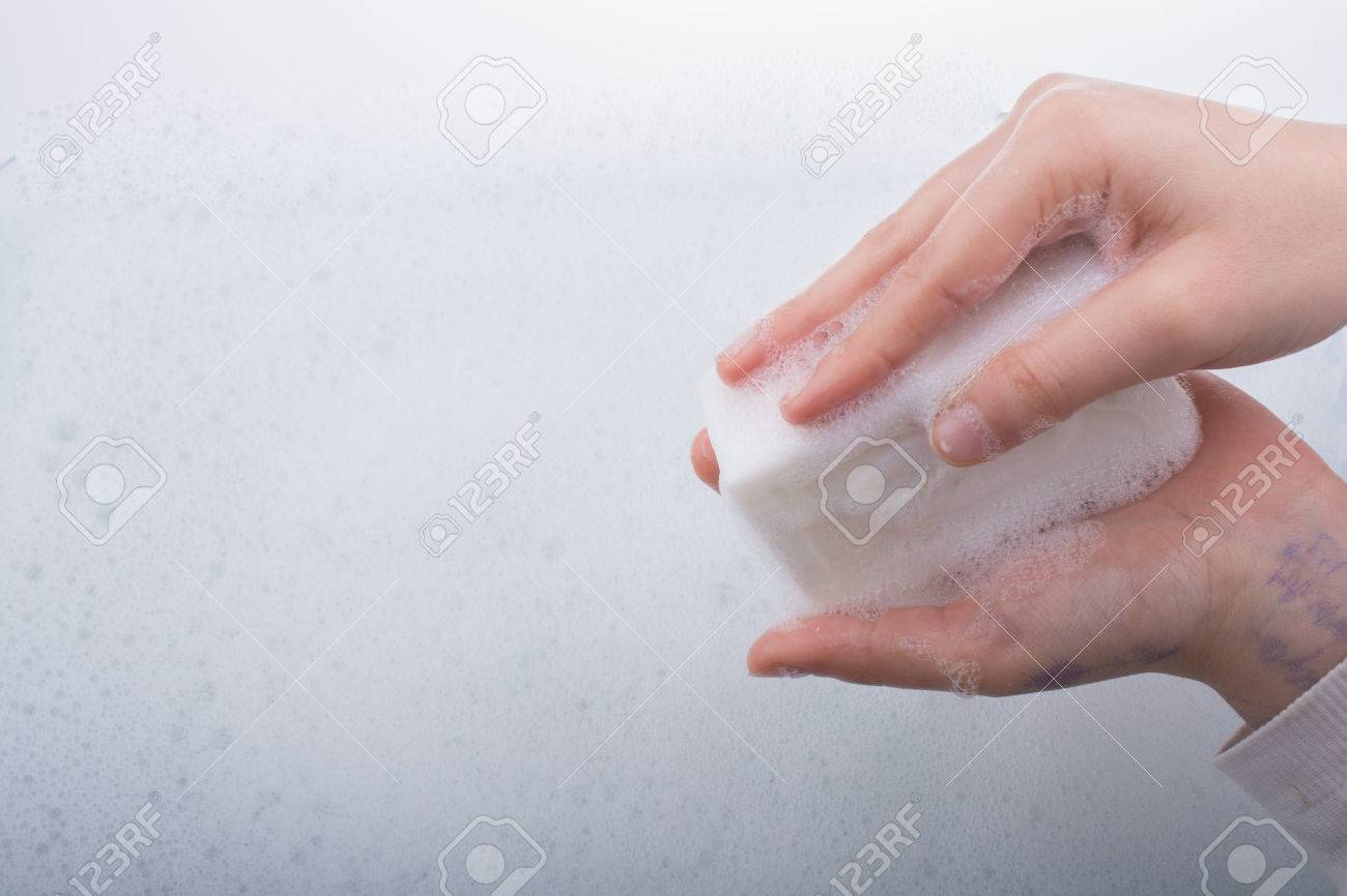 Hand Washing And Soap Foam On A Foamy Background Stock Photo 1300x866