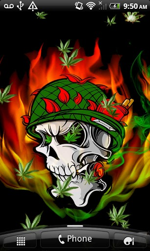Download Skull In Fire Weed LWP for Android   Appszoom 307x512