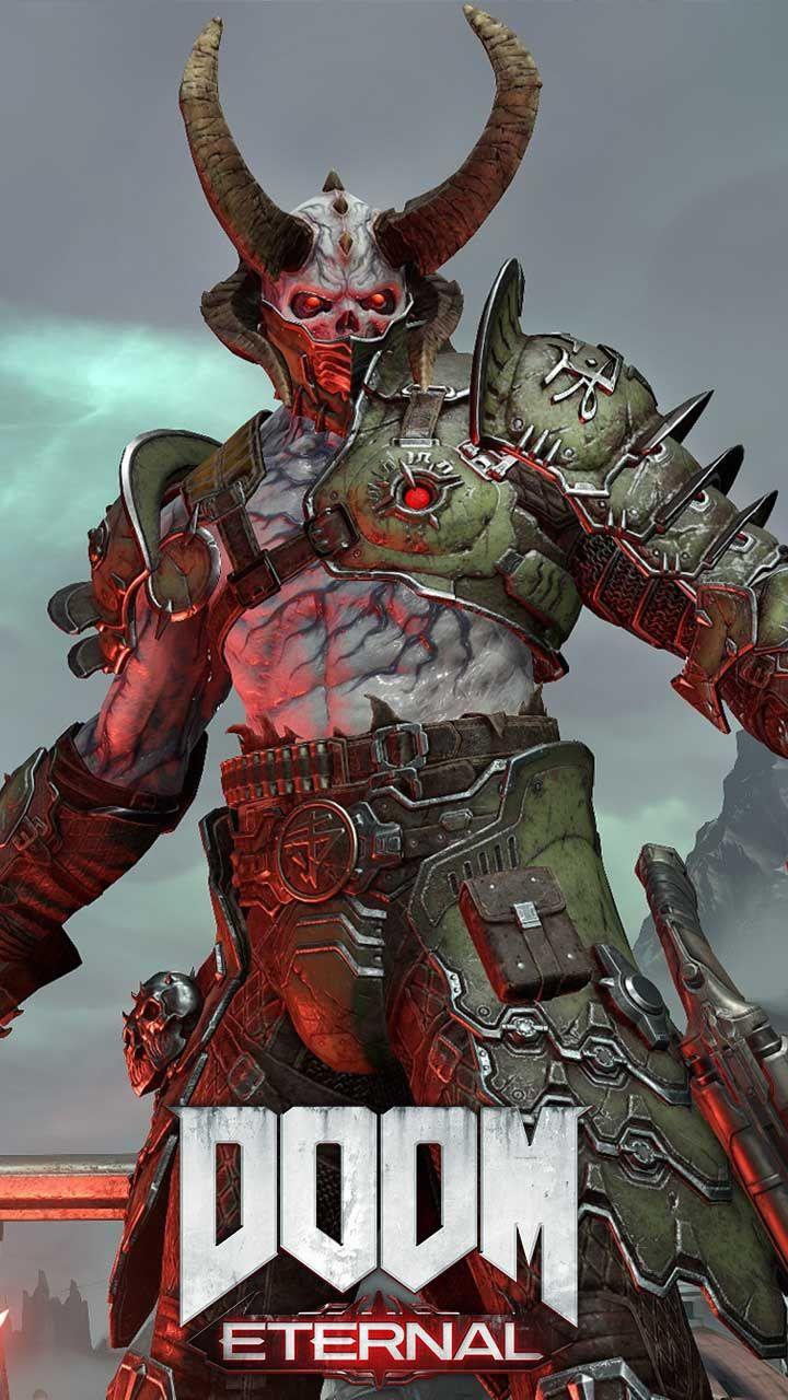 Doom eternal wallpaper HD phone backgrounds game logo art Monsters 720x1280
