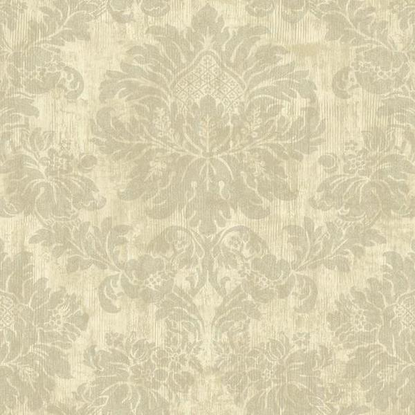 Luray Damask Wallpaper in Beige by Ronald Redding for York Wallcoverin 600x600