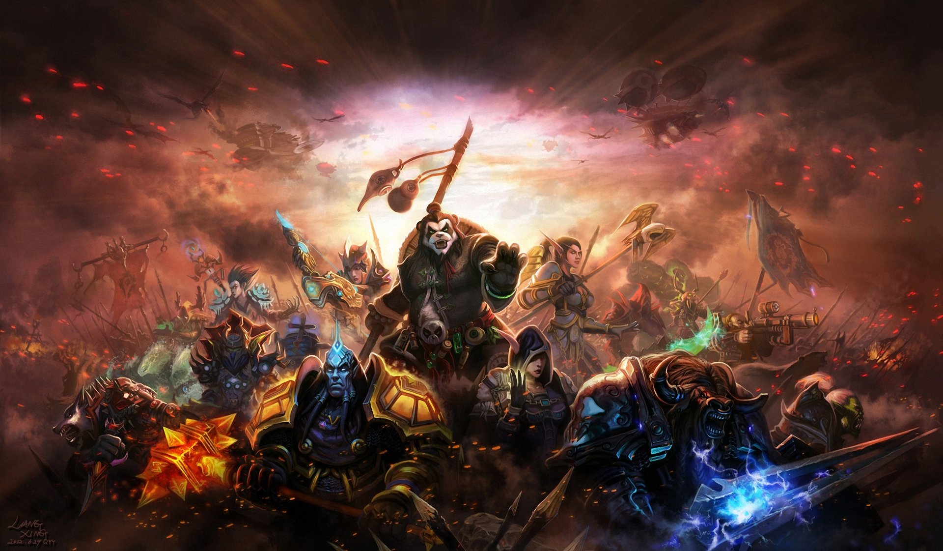 World of Warcraft Mists of Pandaria characters weapons fantasy warrior 1920x1121