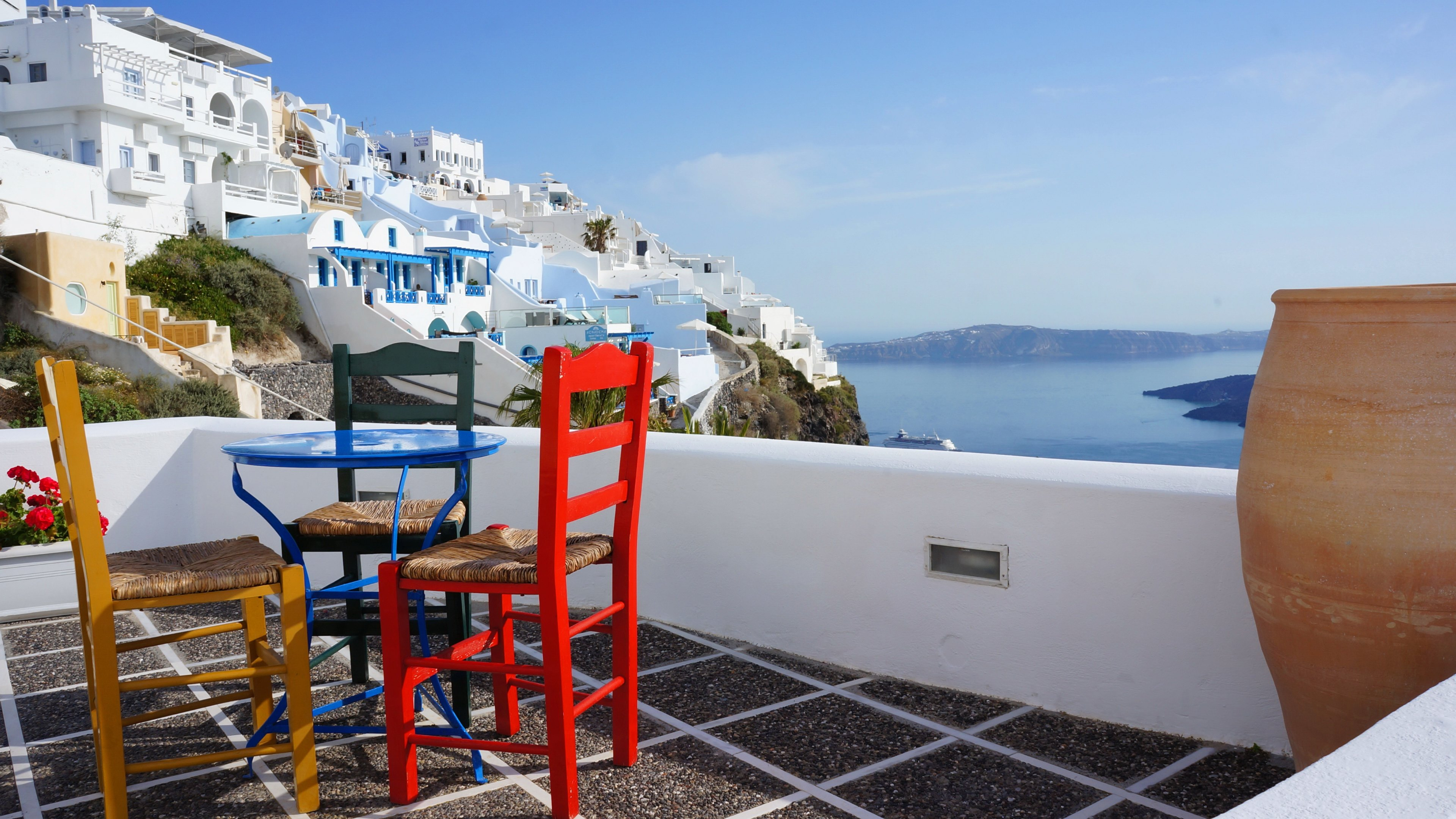 View from Santorini Porch 4k Ultra HD Wallpaper Background Image 3840x2160