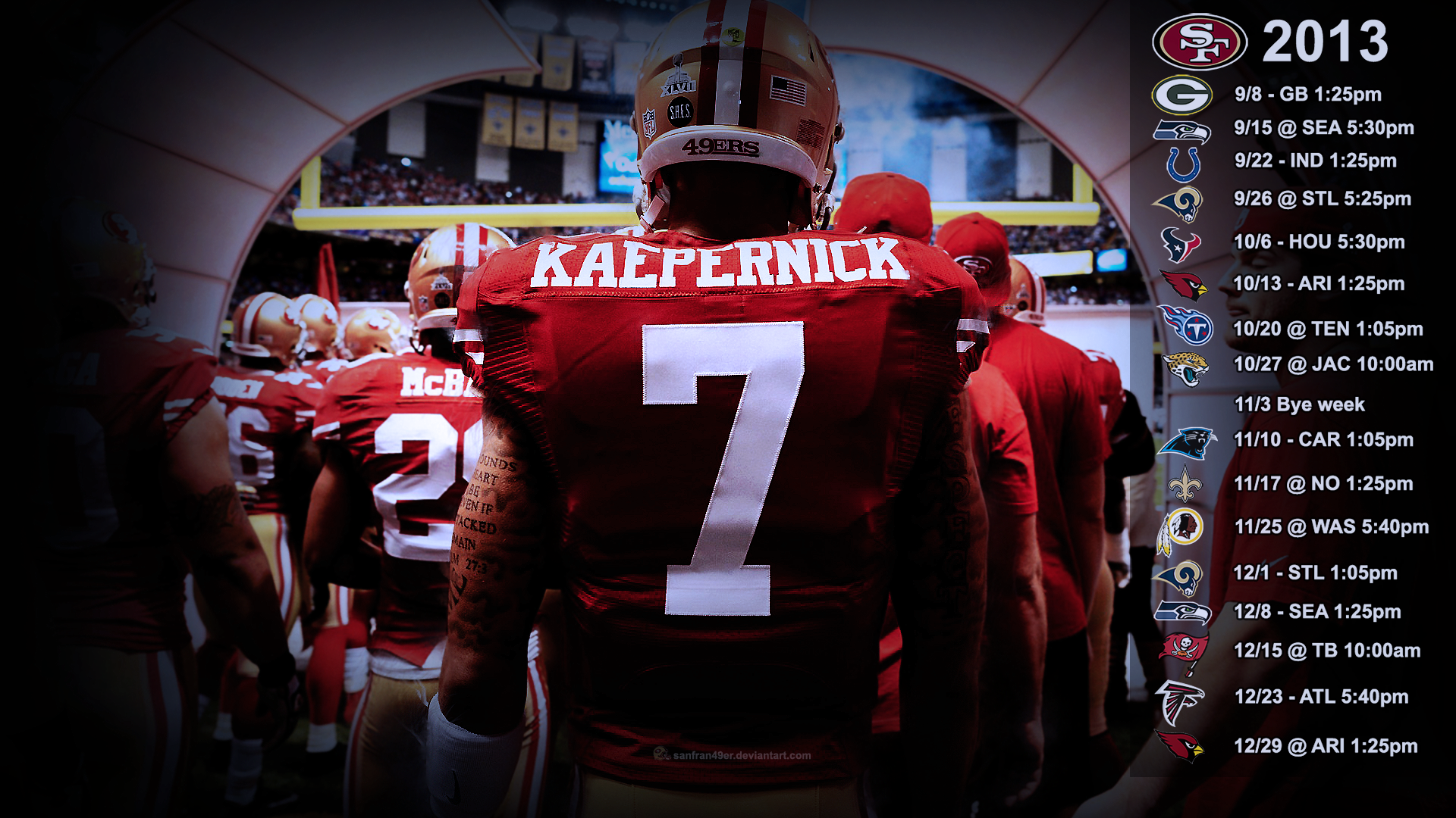 Kaepernick Wallpaper with 2013 schedule PST by 1920x1080
