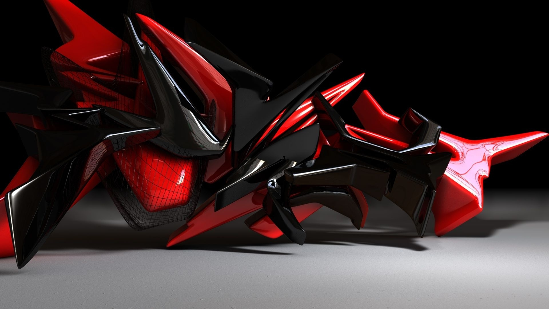 Red And Black Design 3D Cool Wallpapers 14548 Wallpaper 1920x1080