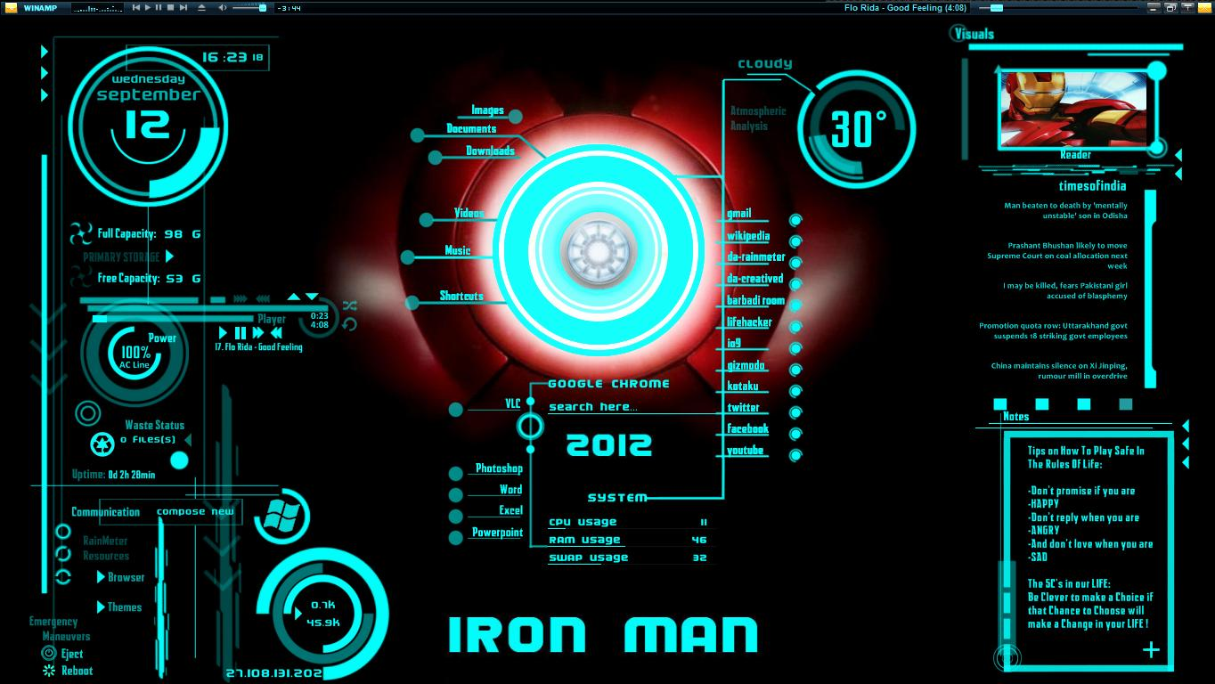Jarvis Animated Wallpaper Ironman jarvis theme download 1364x768