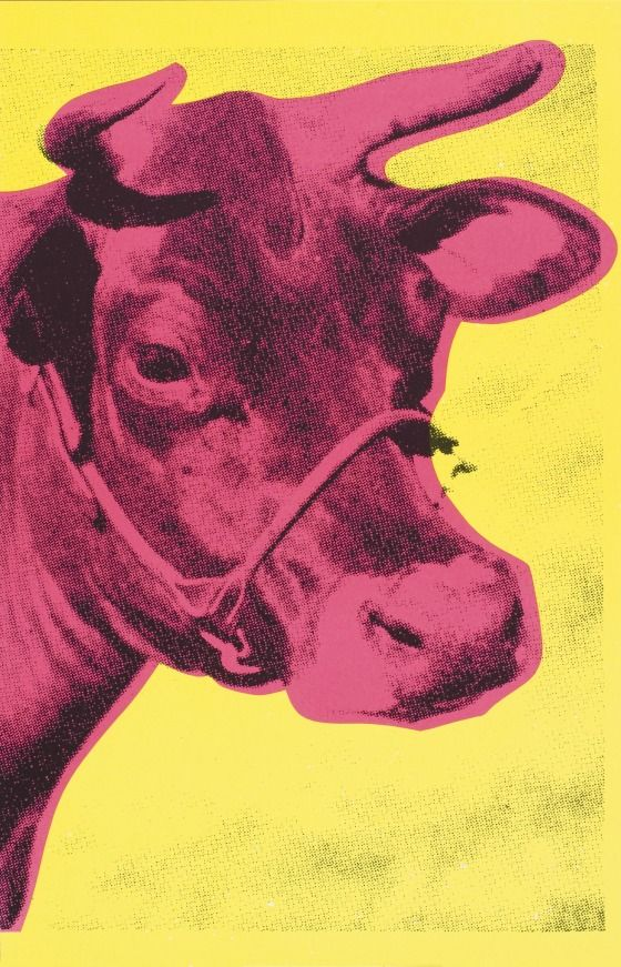 Andy Warhol Cow Wallpaper [Pink on Yellow] 1966 Screen print on 560x871