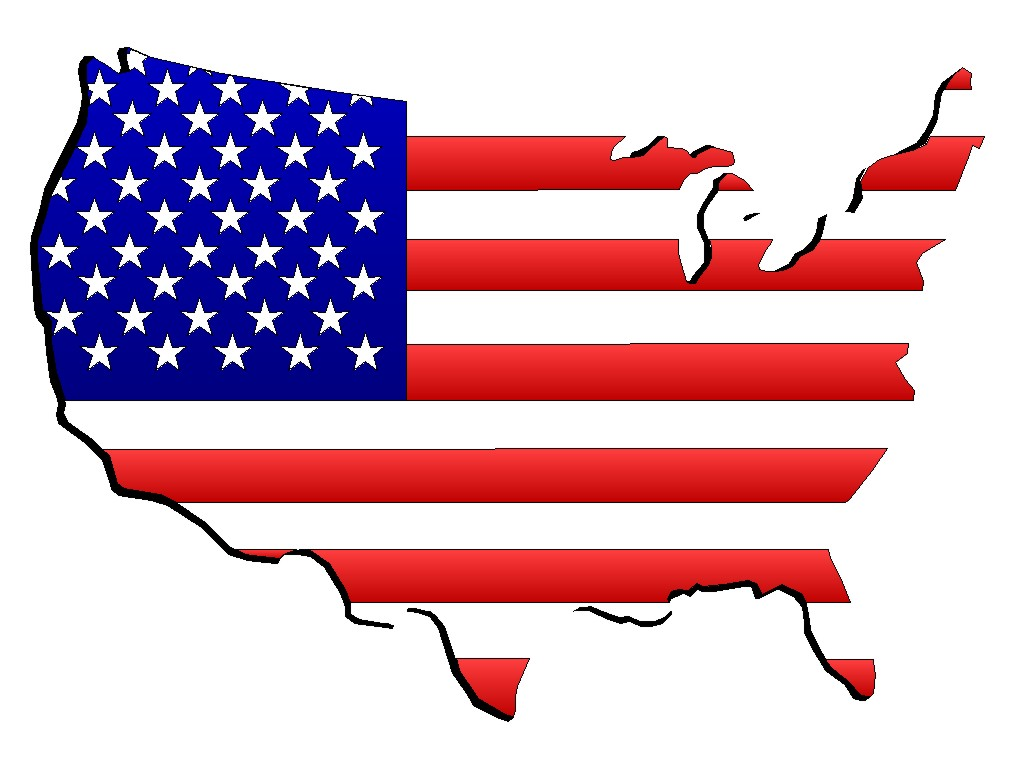 United States Flag on Continent background 1024x768