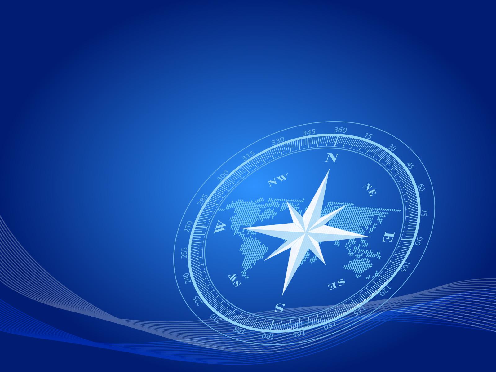 Compass Presentation Powerpoint Templates   3D Graphics Blue 1600x1200