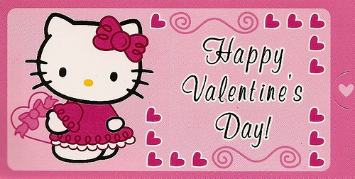 Hello Kitty Valentines Day Card pink 2 Flickr   Photo Sharing 500x252