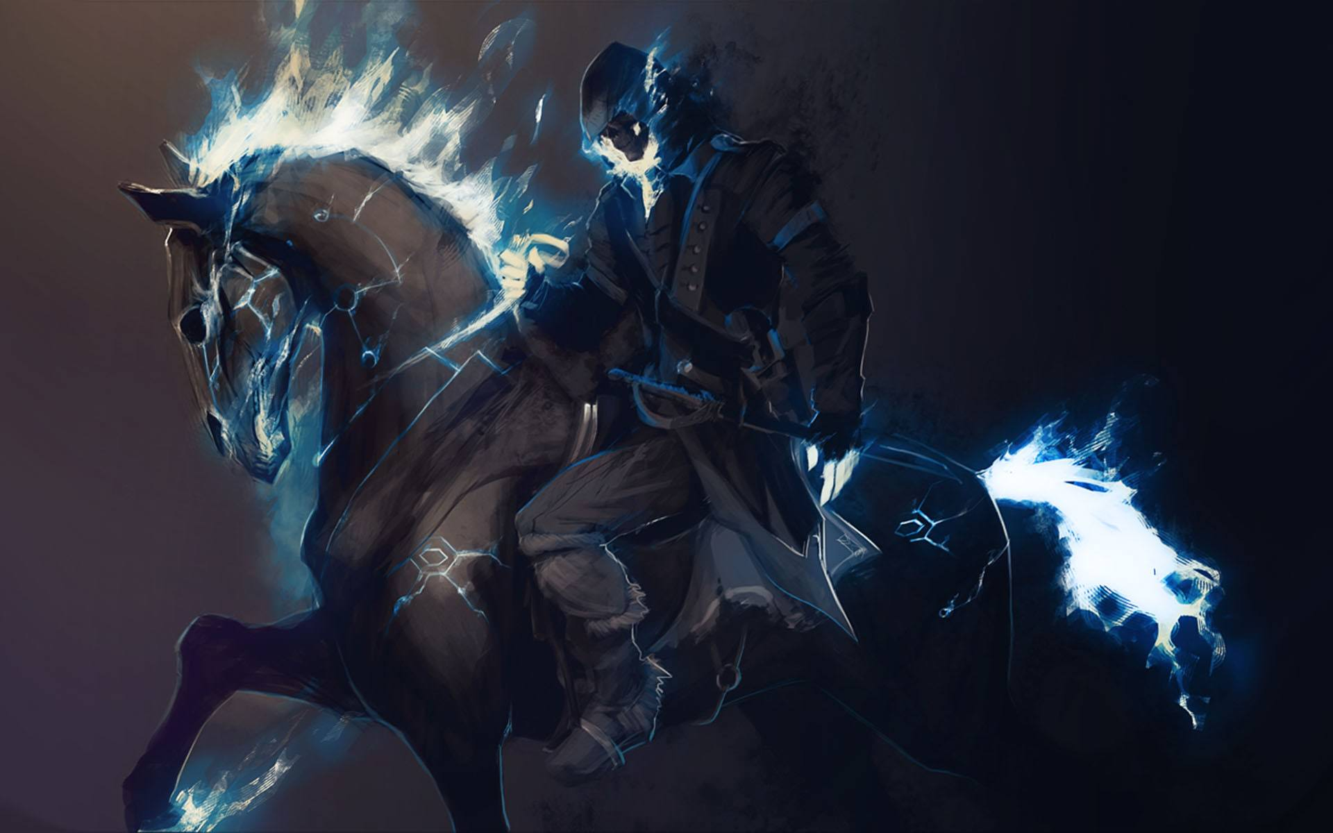 download wallpaper horse fantasy painting digital fire 1920x1200