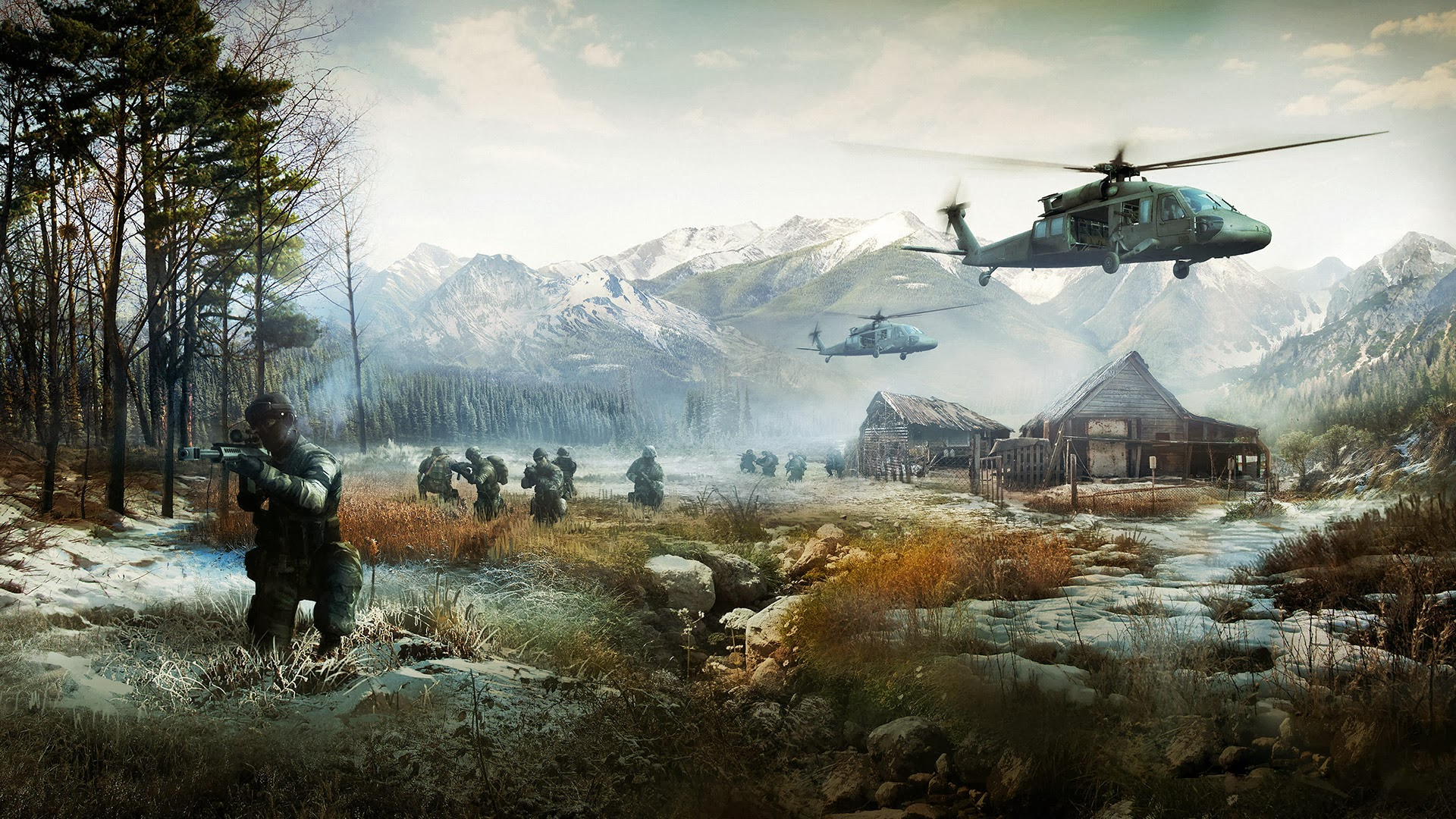 battlefield 4 game hd wallpaper helicopter soldier scenery mountains 1920x1080