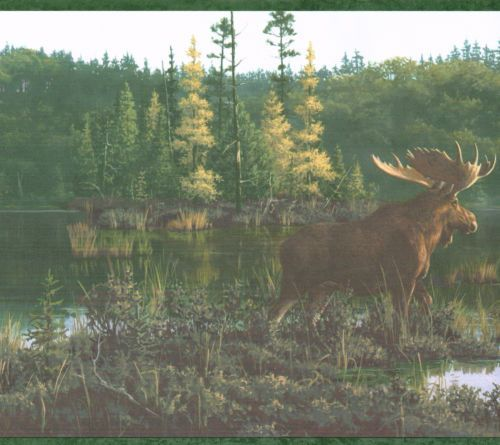 COUNTRY MOOSE AND CABIN ON THE LAKE 10 14 Wallpaper Wall bordeR 500x445