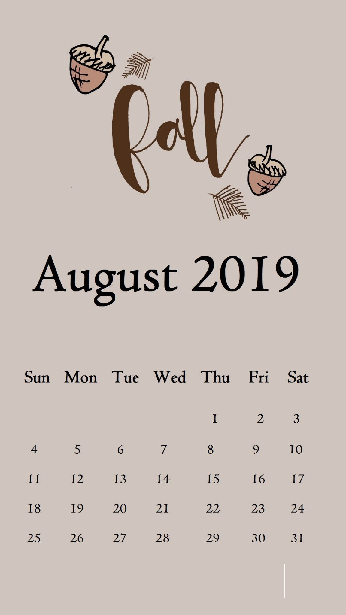 August 2019 iPhone Calendar Wallpaper august august2019 1152x2048