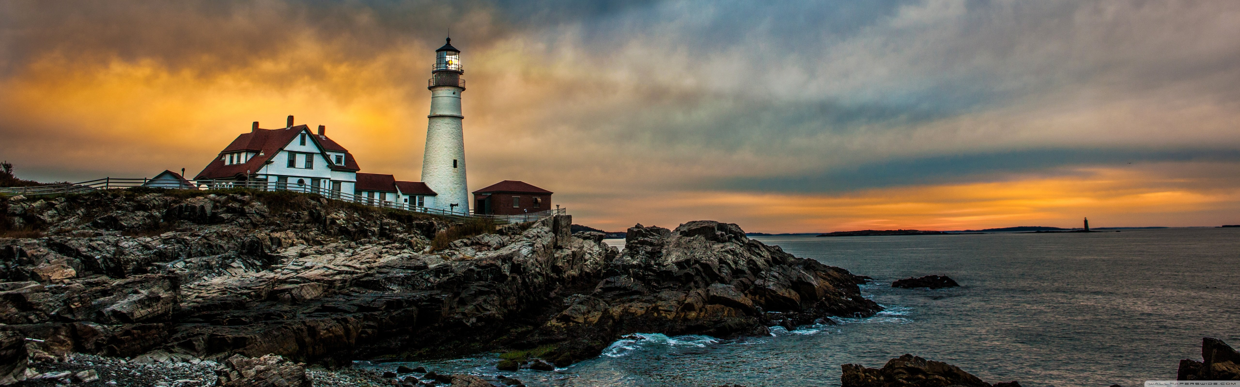 Portland Head Light Lighthouse 4K HD Desktop Wallpaper for 4K 5120x1600