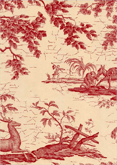 La Chasse Wallpaper Traditional French burgundy and beige wallpaper 500x703