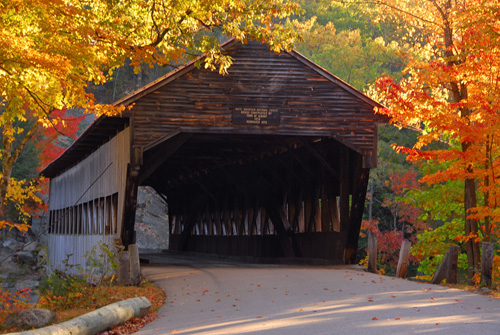The Albany Covered Bridge spans the Swift River It is a popular stop 500x335