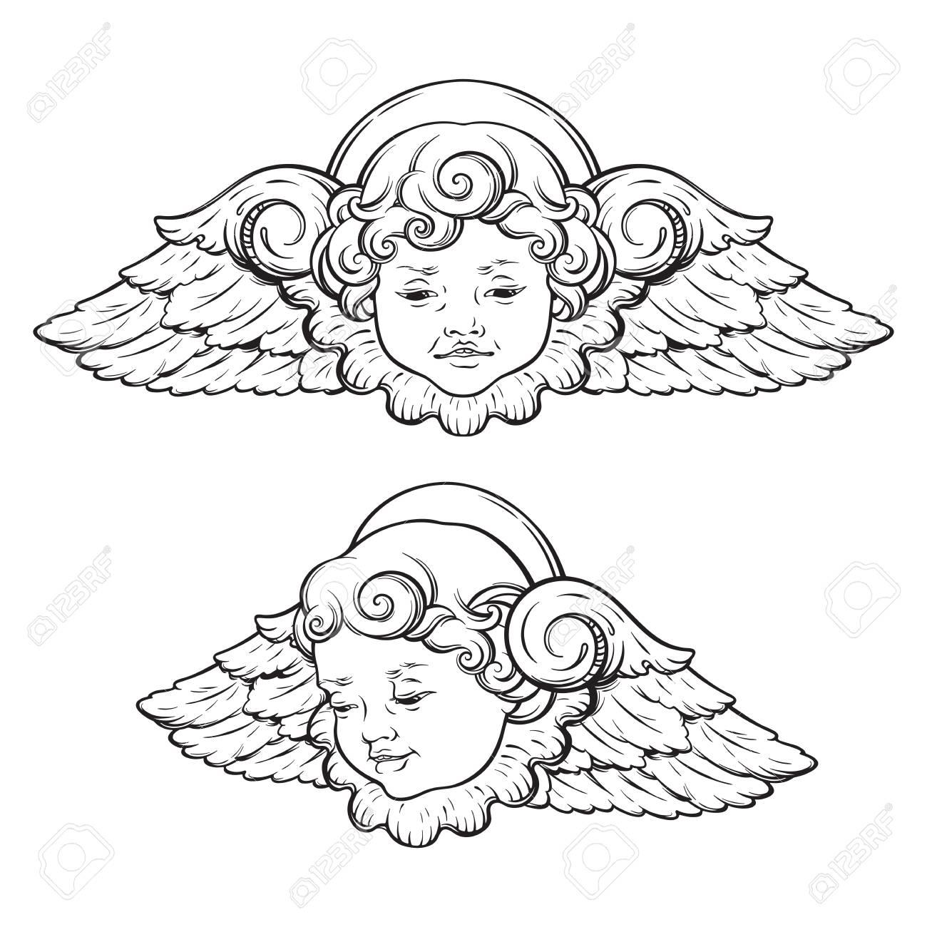 Cherub Cute Winged Curly Smiling Baby Boy Angel Set Isolated 1300x1300