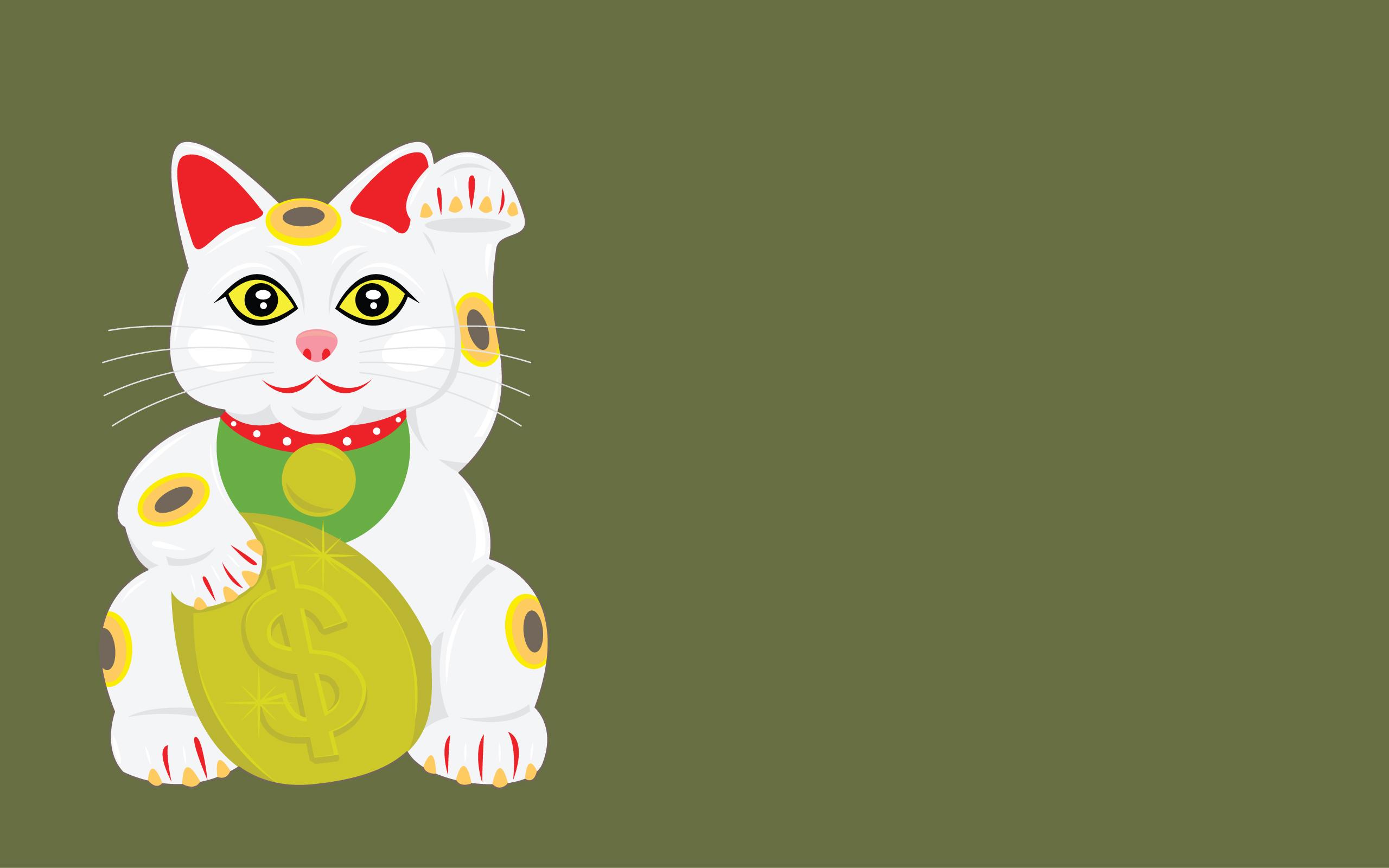 free vector Lucky Cat Vector Wallpaper 2560x1600