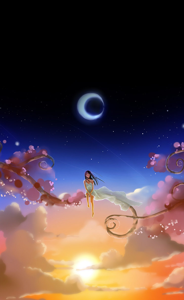 Free Download Anime Girl Dreamy Moon Iphone 4s Wallpaper Download