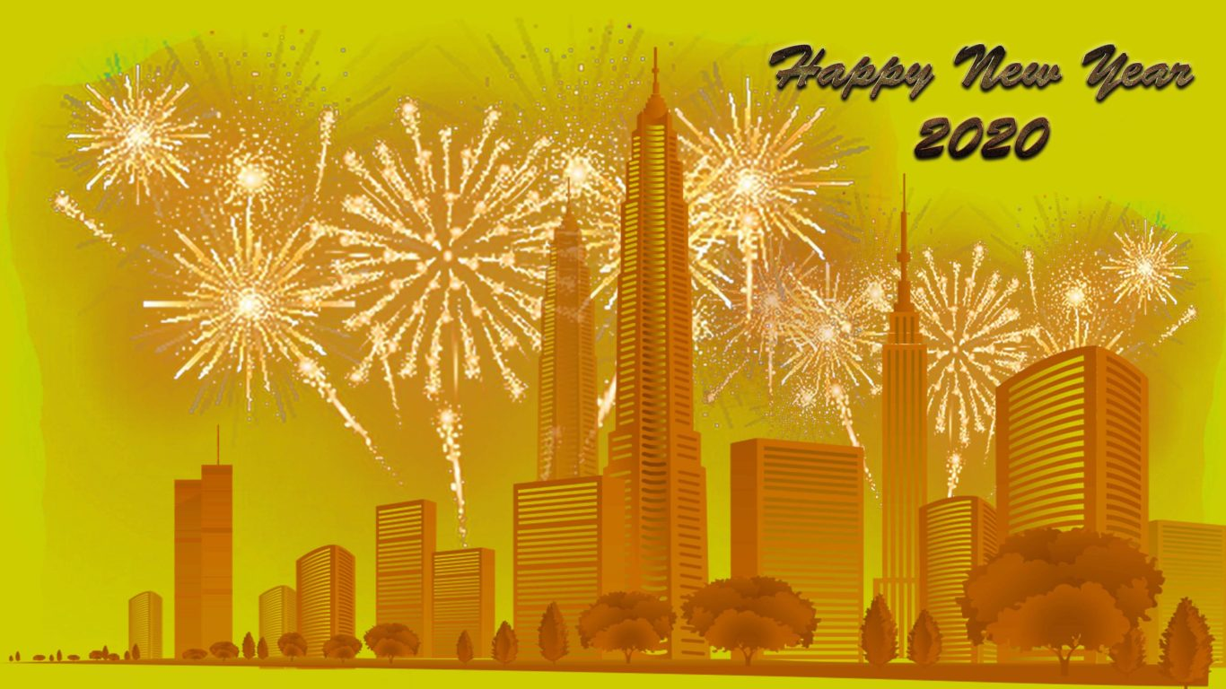 Happy New Year 2020 City Buildings Fireworks 4k Ultra Hd Tv 1366x768