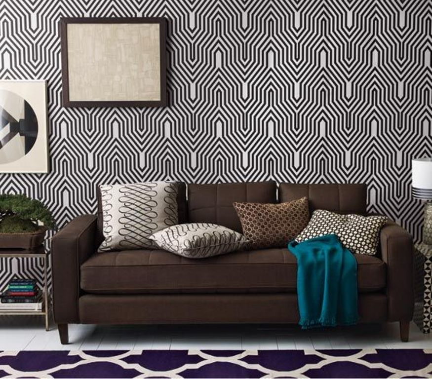 Modern Black and White Geometric Wallpaper 875x768