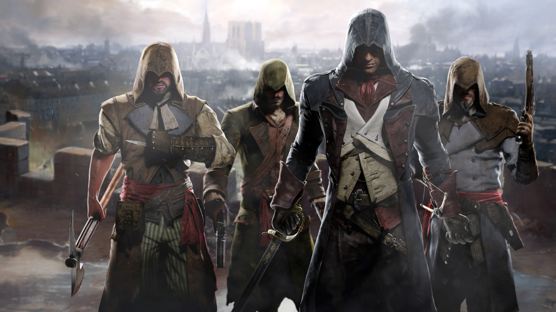 Free Download Assassins Creed Unity 4 Characters 1920x1080 For