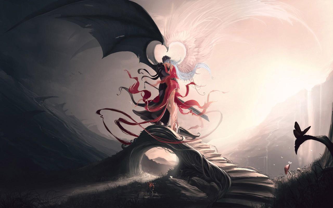 Download Angel and demon wallpaper 1280x800
