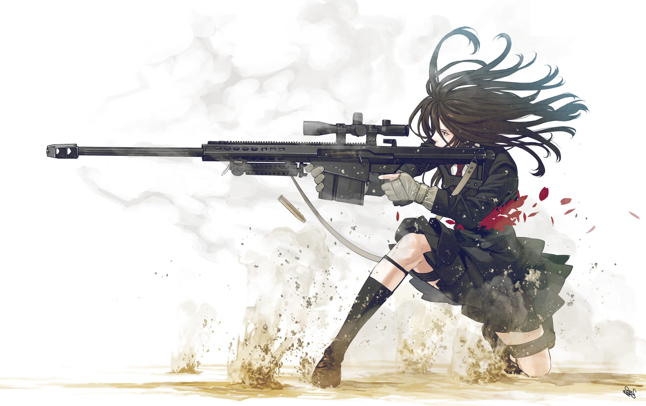 anime Anime Girls Women Weapon Barrett 50 Cal Skirt School 2237x1405