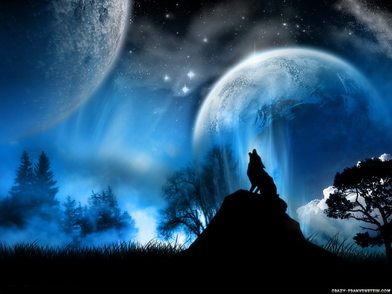 47+] Fire and Ice Wolf Wallpaper on