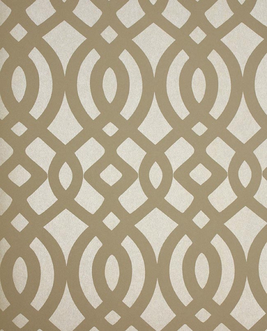 Du Barry Wallpaper Ogee trellis wallpaper in taupe and beige mica 534x662