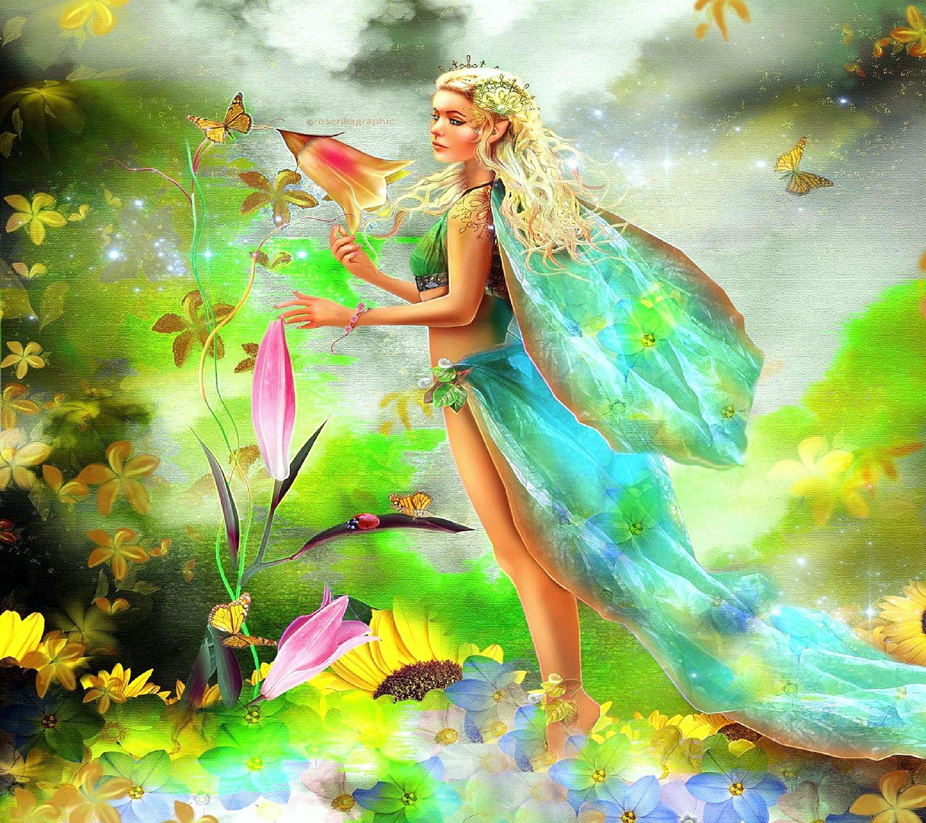 Spring Fairy Wallpaper Fairy In Spring Desktop Background HD 1800x1600