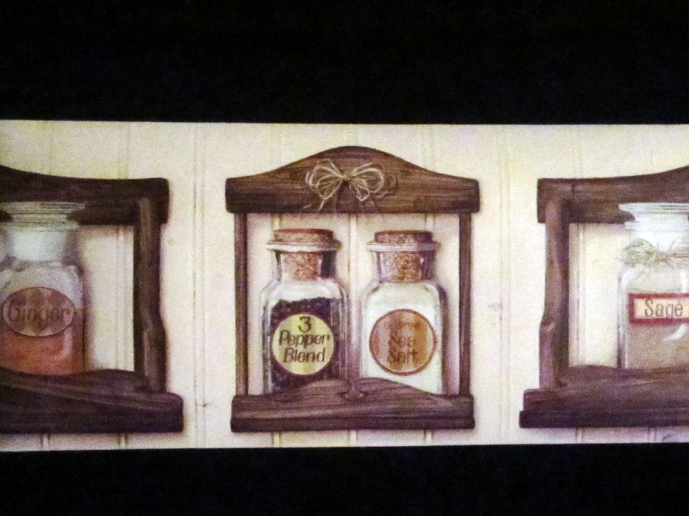 Wallpaper Wall Border Country Farmhouse Kitchen Spice Rack Vintage 1000x750
