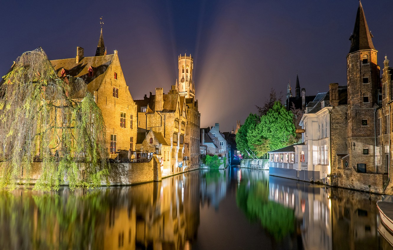 Wallpaper night lights home channel Belgium architecture 1332x850