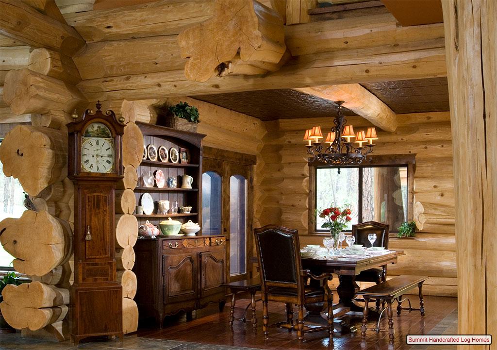 Log Cabin Interior Design Ideas: Rustic Log Wallpaper